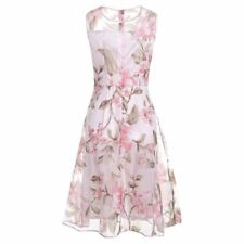 Women Pink Color Summer Wear O- Neck Sleeveless Floral Printed Midi Dress