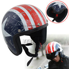 US Flag Retro 3/4 Open Face Motorcycle Riding Safety Helmet Scooter ATV Off Road