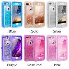 iPhone X /8/7/6S Plus 3D Bling Sparkle Flowing Liquid 3IN1 Shockproof Case Cover