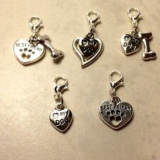 Dog Clip On Charms -Dangle Charms with Clasp for easy on/off- 6 Different Styles