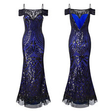 Women Formal Long Evening Dress Sequins Strappy Cocktail Prom Party Mermaid Gown