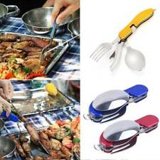 Stainless Steel Fork Knife Tableware Portable Set Folding Outdoor Camping