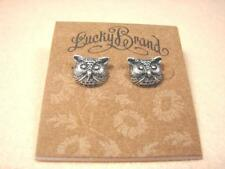 LUCKY BRAND OWL SILVER GOLD TONE VINTAGE PUNK STUD EARRINGS