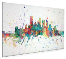 Pittsburgh Pennsylvania Skyline Cityscape Box Canvas and Poster Print (1958)