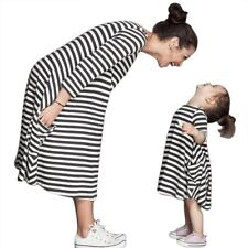 Mother Daughter Striped Dress Family Team O-Neck Side Package Parent-child Dress