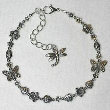 Dragonfly Bumble Bee Ladybird Butterflies Daisy Flowers Ankle Bracelet /  Anklet