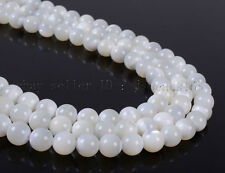 Natural White Mother Of Pearl MOP Shell Round Beads 15.5'' 3mm 4mm 6mm 8mm 10mm