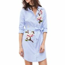 Women Vintage Blue Color Striped Flower Embroidery Slim Casual Dress