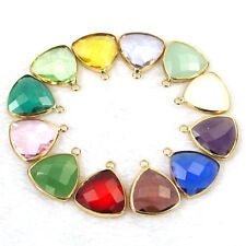 10Pcs gold plated faceted Czech crystal glass charm beads triangle pendants