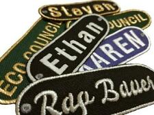 Personalised Embroidered Name Iron On Patches Jeans Badge Club Biker Tags Labels