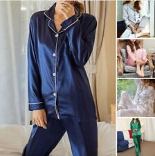 New Women's Silk Satin Pajama Sets Long Sleeve Sleepwear Homewear Nightwear Robe