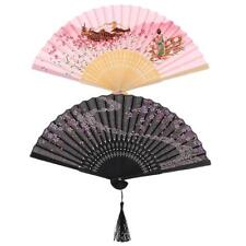 Portable Japanese Hand Held Pocket Folding Dance Fan Cherry Blossom Painting