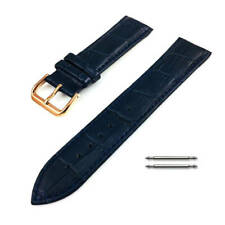 Blue Croco Leather Replacement Watch Band Strap Rose Gold Steel Buckle #1073