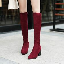 Fashion Womens Pointy Toe Knee High Boots Side Zip Mid Heels Shoes Casual Hot