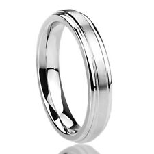 4MM Stainless Steel Wedding Band Ring Brushed Center Classy Ring