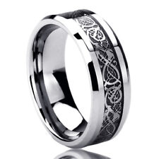 8MM Titanium Mens Womens Rings Celtic Dragon Inlayed Comfort Fit Wedding Bands