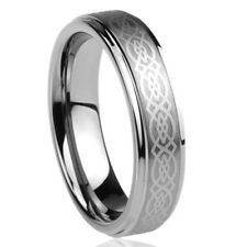 6MM Titanium Mens Womens Rings Celtic Knot Design Comfort Fit Wedding Bands