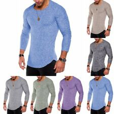 Men's Crew Neck Long Sleeve T-Shirt Slim Fit Fashion Solid Color Basic Tee Shirt