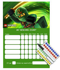 Ninjago Children's Behaviour Chore Reward Chart - Reusable with Star Stickers