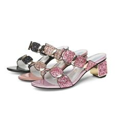 Fashion Women Lady Sequin Slippers Mules Sandals Peep Toe Chunky Mid Heels Shoes