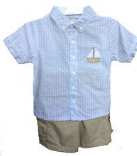 Boys Toddler Sailboat Applique Blue Check Shirt & Khaki Shorts Set Petit Ami NWT