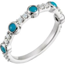 14K White Gold Turquoise and 1/5 CTW Diamond Stackable Ring 7