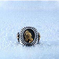 High Quality Men 18K GP Mary praying Hands 316L Stainless Steel Ring Sz 7-13