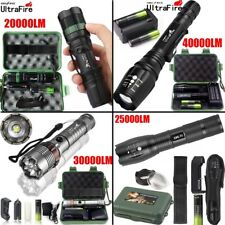 Tactical Zoomable Flashlight 5Mode 40000LM T6 LED 18650 Focus Torch+Case+BTY AQ