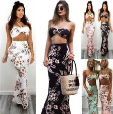 Women Twinset Floral Print Halter Wrapped Sleeveless Crop Top+Bandage Long Skirt