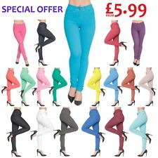 New Ladies Skinny Leggings Jeggings Womens Coloured Stretchy Jeans Trousers 8-26