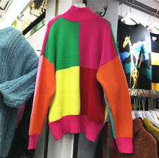 Womens Pullover Rainbow Color Tops Loose Sweaters Thick Long Sleeve Base Shirts