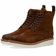 NIB Grenson Fred V Brogue Boots (Snuff Burnished Suede) RRP $450