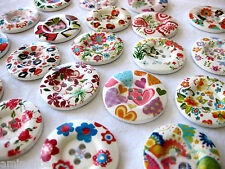 5 Wooden-Buttons, different Patterns,approx. 38 mm,Patterns selectable K88