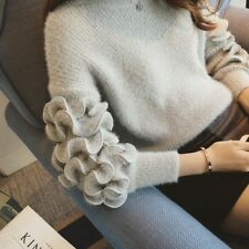 Sweet Women Autumn Winter Long Sleeve Round Neck Knitted Short Pullover Sweater