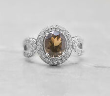 925 Sterling Silver Ring with Oval Cut Smoky Topaz Natural Gemstone Handmade.