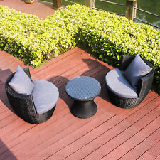 3pcs Outdoor Furniture Lounge Set Table Chairs  Patio Garden Pool BBQ Rattan Set