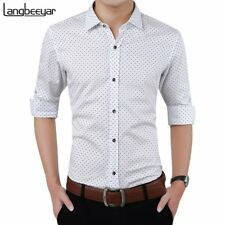 Fashion Brand Men Clothes Slim Fit Men Long Sleeve Shirt Men Polka Dot Casual Me