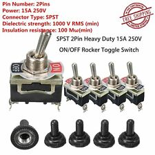 5PC Heavy Duty 15A 250V SPST 2 Terminal ON/OFF Toggle Switch Waterproof Boot EQ