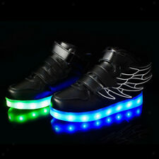 LED Light Up Kids Boys Girls Trainers PU Leather Sneakers Luminous Shoes Black
