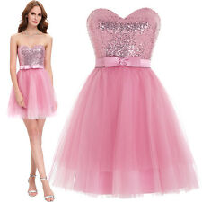Pink SHORT Tulle HOMECOMING Dress Mini Sequins Evening Cocktail Prom Bridesmaid