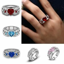 Bling Rings Heart Charm Crystal Zircon Rhinestones Wedding Man Women Jewelry