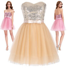 Short Tulle Homecoming Dress Mini Sequins Evening Cocktail Ball Prom Bridesmaid