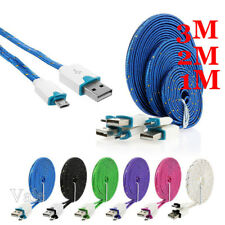 1M 2M 3M High Speed Braided Gold Rimmed Micro USB Data Sync Charging Cable LOT