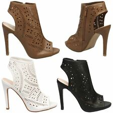 Anthea Womens High Heel Stilettos Cut Out Ankle Boots Ladies Peep Toe Shoes Size