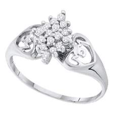 14kt White Gold Womens Round Prong-set Diamond Cluster Heart Mom Ring 1/6 Cttw
