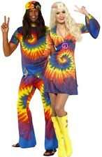 Mens & Ladies Couples Tie Dye Hippy Hippie 1960s 60s Fancy Dress Costumes Outfit
