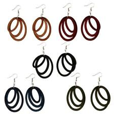 Lightweight Wooden Oval Hoops Dangle Drop Ethnic Earrings Fashion Jewelry