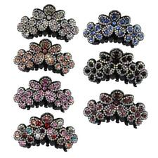 Women's Flower Crystal Ponytail Holder Clip Grip Clamp Claw Hair Accessories