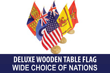 Deluxe Asia Asian Country Table Desk Flag With Wooden Base - Choice of Country