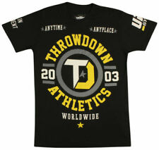 NWT THROWDOWN by AFFLICTION mens Origin ss MMA t-shirt Black Yellow *S-2XL